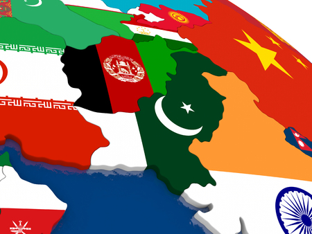 Map of Afghanistan and Pakistan with embedded flags on 3D political map. Accurate official colors of flags. 3D illustration Stock Illustration - 58999935