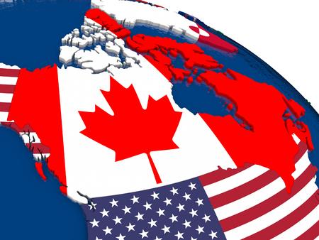 banderas america: Mapa de Canadá con banderas incrustados en el mapa político 3D. colores oficiales precisas de banderas. ilustración 3D Foto de archivo