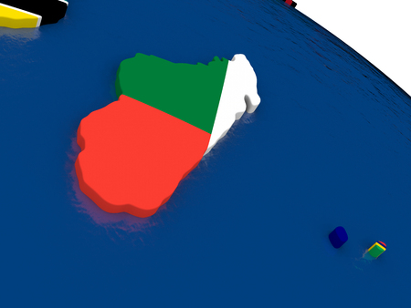 diplomatic: Map of Madagascar with embedded flags on 3D political map. Accurate official colors of flags. 3D illustration