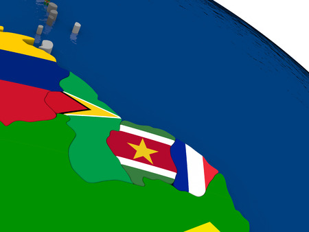diplomatic: Map of Guynea and Suriname  with embedded flags on 3D political map. Accurate official colors of flags. 3D illustration