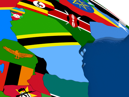 diplomatic: Map of Tanzania with embedded flags on 3D political map. Accurate official colors of flags. 3D illustration