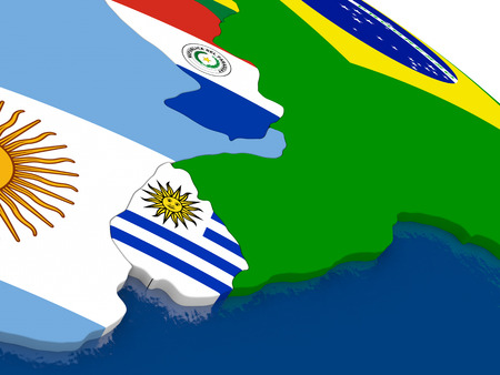 diplomatic: Map of Uruguay with embedded flags on 3D political map. Accurate official colors of flags. 3D illustration