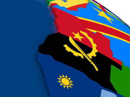 map of angola: Map of Angola with embedded flags on 3D political map. Accurate official colors of flags. 3D illustration Stock Photo