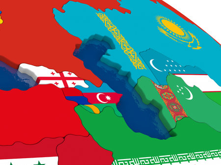 diplomatic: Map of Caucasus region with embedded flags on 3D political map. Accurate official colors of flags. 3D illustration