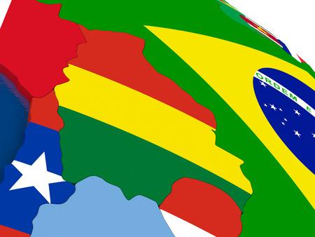 mapa de bolivia: Mapa de Bolivia con banderas incrustados en el mapa político 3D. colores oficiales precisas de banderas. ilustración 3D