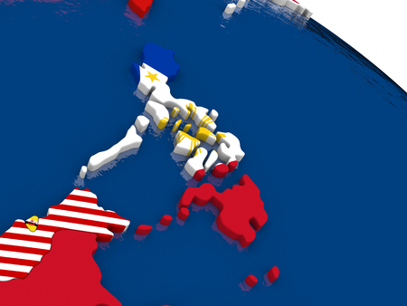 filipino: Map of Philippines with embedded flags on 3D political map. Accurate official colors of flags. 3D illustration