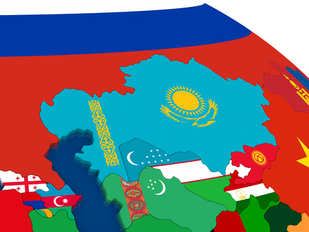 diplomatic: Map of Kazakhstan with embedded flags on 3D political map. Accurate official colors of flags. 3D illustration Stock Photo