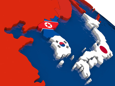 diplomatic: Map of South Korean and North Korea with embedded flags on 3D political map. Accurate official colors of flags. 3D illustration