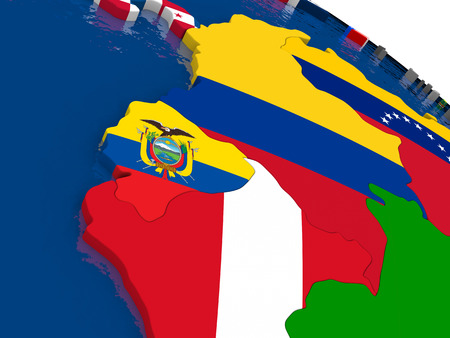 diplomatic: Map of Ecuador with embedded flags on 3D political map. Accurate official colors of flags. 3D illustration