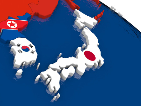 diplomatic: Map of Japan with embedded flags on 3D political map. Accurate official colors of flags. 3D illustration