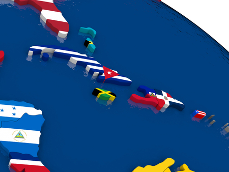 cuban flag: Map of North Caribbean with embedded flags on 3D political map. Accurate official colors of flags. 3D illustration Stock Photo