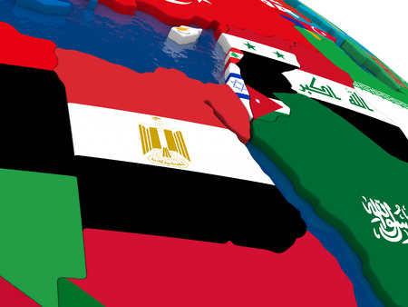 diplomatic: Map of Egypt with embedded flags on 3D political map. Accurate official colors of flags. 3D illustration Stock Photo