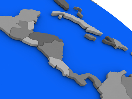 central america: Map of Central America on 3D model of Earth with countries in various shades of grey and blue oceans. 3D illustration
