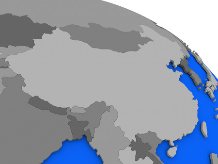 far east: Map of China on 3D model of Earth with countries in various shades of grey and blue oceans. 3D illustration