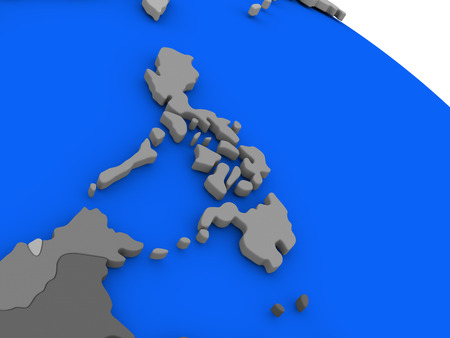 filipino: Map of Philippines on 3D model of Earth with countries in various shades of grey and blue oceans. 3D illustration