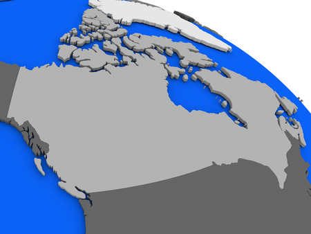 diplomacy: Map of Canada on 3D model of Earth with countries in various shades of grey and blue oceans. 3D illustration