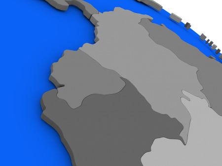 republic of ecuador: Map of Ecuador on 3D model of Earth with countries in various shades of grey and blue oceans. 3D illustration