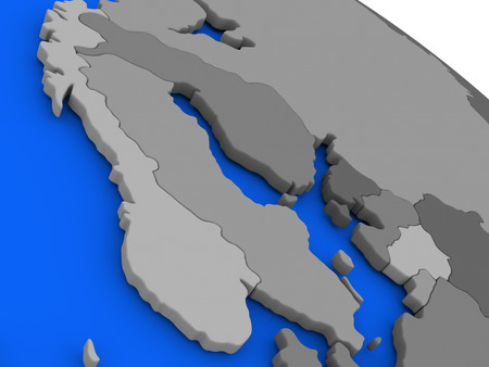 scandinavia: Map of Scandinavia on 3D model of Earth with countries in various shades of grey and blue oceans. 3D illustration Stock Photo