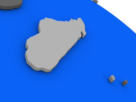 the oceans: Map of Madagascar on 3D model of Earth with countries in various shades of grey and blue oceans. 3D illustration