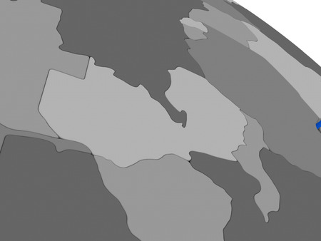 malawian: Map of Zambia on 3D model of Earth with countries in various shades of grey and blue oceans. 3D illustration