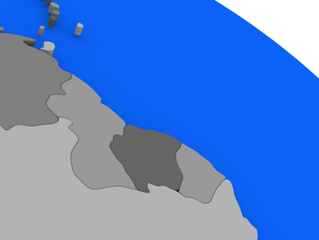 guyanese: Map of Guyana and Suriname  on 3D model of Earth with countries in various shades of grey and blue oceans. 3D illustration