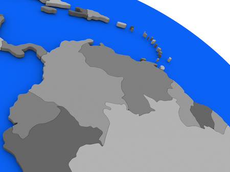regions: Map of Colombia and Venezuela on 3D model of Earth with countries in various shades of grey and blue oceans. 3D illustration