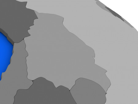 diplomacy: Map of Bolivia on 3D model of Earth with countries in various shades of grey and blue oceans. 3D illustration