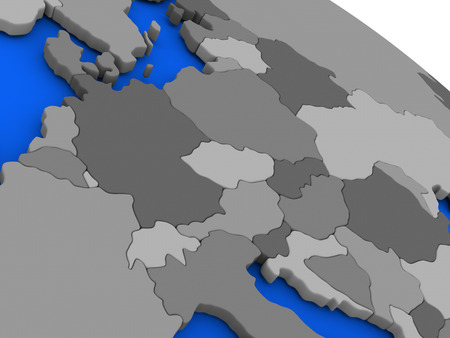 central europe: Map of Central Europe on 3D model of Earth with countries in various shades of grey and blue oceans. 3D illustration