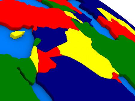 region: Israel, Lebanon, Jordan, Syria and Iraq region on colorful political globe. 3D illustration Stock Photo