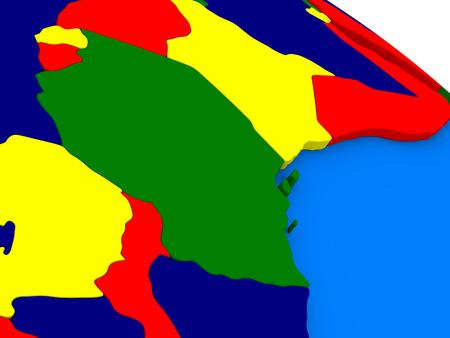tanzania: Tanzania on colorful political globe. 3D illustration