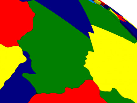 chadian: Chad on colorful political globe. 3D illustration