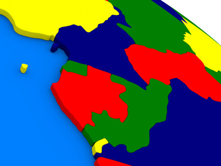 congo: Cameroon, Gabon and Congo on colorful political globe. 3D illustration Stock Photo