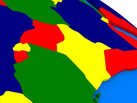 diplomacy: Kenya, Uganda, Rwanda and Burundi on colorful political globe. 3D illustration
