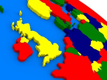 irish map: United Kingdom on colorful political globe. 3D illustration Stock Photo