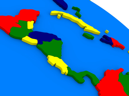 central america: Central America on colorful political globe. 3D illustration Stock Photo