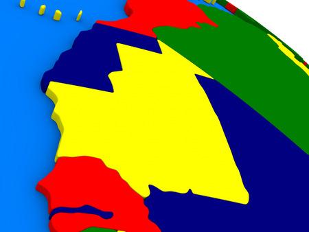 mauritania: Mauritania on colorful political globe. 3D illustration