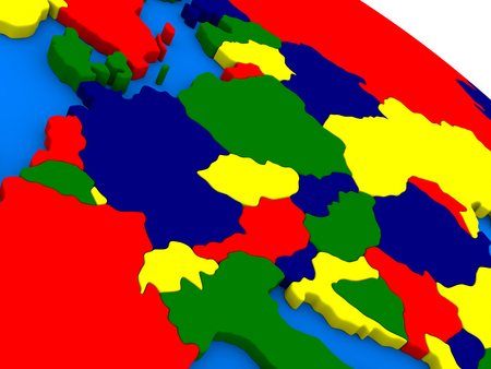 central europe: Central Europe on colorful political globe. 3D illustration