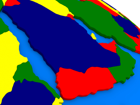peninsula: Arab peninsula on colorful political globe. 3D illustration