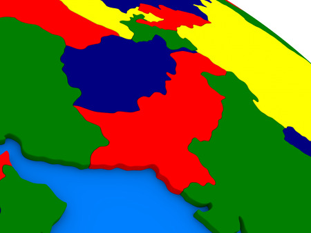 pakistani: Afghanistan and Pakistan on colorful political globe. 3D illustration Stock Photo