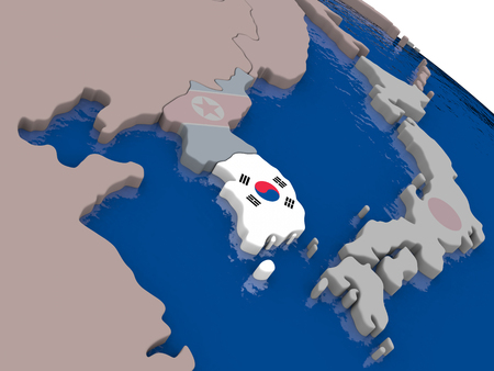 korean national: South Korea with flag highlighted on model of globe. 3D illustration Stock Photo