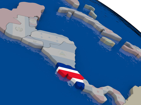 rican: Costa Rica with flag highlighted on model of globe. 3D illustration
