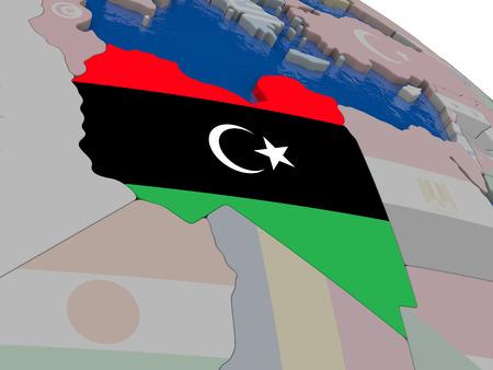 diplomacy: Libya with flag highlighted on model of globe. 3D illustration Stock Photo
