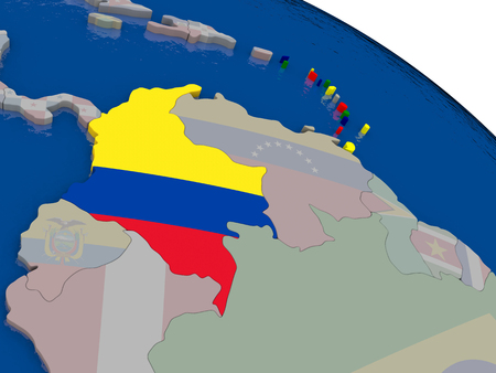 republic of colombia: Colombia with flag highlighted on model of globe. 3D illustration