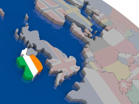eire: Ireland with flag highlighted on model of globe. 3D illustration Stock Photo