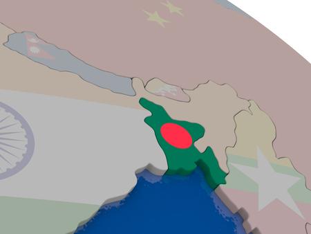 national flag bangladesh: Bangladesh with flag highlighted on model of globe. 3D illustration