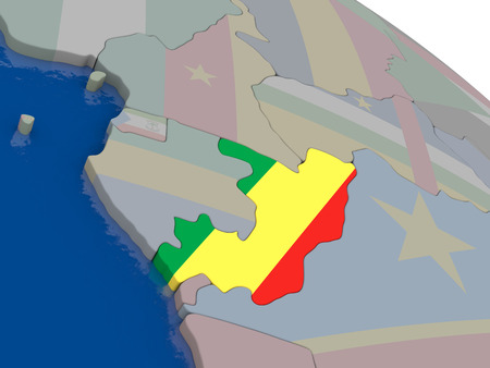 Congo: Congo with flag highlighted on model of globe. 3D illustration