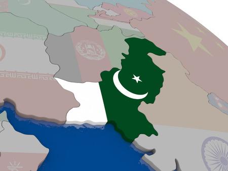 pakistani pakistan: Pakistan with flag highlighted on model of globe. 3D illustration