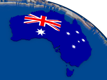 aussie: Australia with flag highlighted on model of globe. 3D illustration