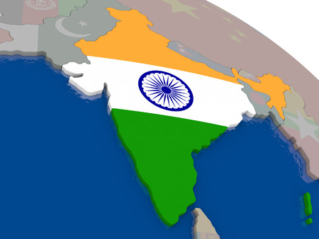 india 3d: India with flag highlighted on model of globe. 3D illustration Stock Photo