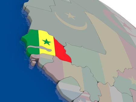 senegalese: Senegal with flag highlighted on model of globe. 3D illustration